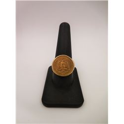 Sz10.5 - 10KT Gold Ring with Gold Coin