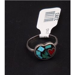 sz 5.5 - Silver Heart Ring Inlay with Turquoise