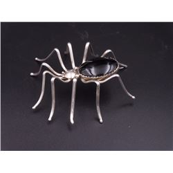 Spider Pin, Silver and Onyx