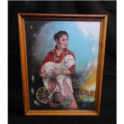 """Lady With Lamb"" Painting by Gilbert Luther (Native)"