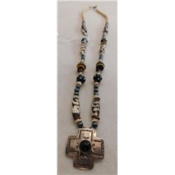 Trade Bead Necklace w/S.S. Pendant