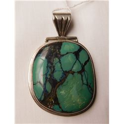 Large S.S. & Turquoise Pendant
