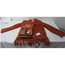 Small Leather Jacket + Tooled Mexican Saddlebags