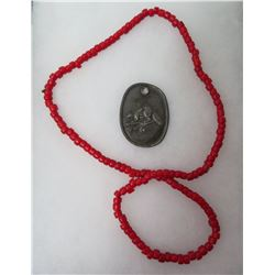 Red Trade Beads w/Fur Trade Beaver Pendant