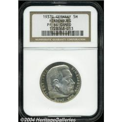 Third Reich. Hindenburg 5 Mark 1937G, KM86,