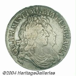 "William & Mary crown 1691, S-3433. First ""I"""