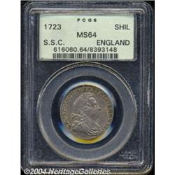 George I Shilling 1723 SSC, S-3647. MS64 PCGS.