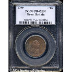 George III Proof copper Farthing 1799, S-3779.