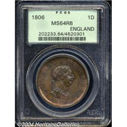 George III copper Penny 1806, S-3780. MS64 RB