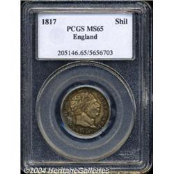 George III Shilling 1817, S-3790. MS65 PCGS. A