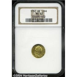 George III gold Quarter Guinea 1762, S-3741.