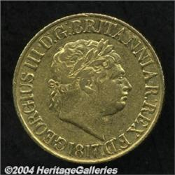 George III gold Sovereign 1817, S-3785. VF, no