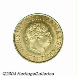 George III gold Sovereign 1817, S-3785. Choice