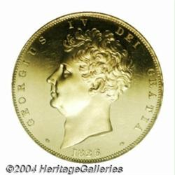 George IV Proof gold 5 Pounds 1826, S-3797.