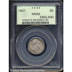 William IV silver Sixpence 1831, S-3836. MS66