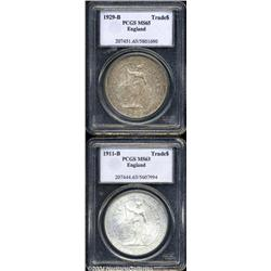 George V silver Trade Dollars, a pleasing pair