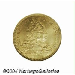 Frederick I gold ducat 1735GZ, Bust