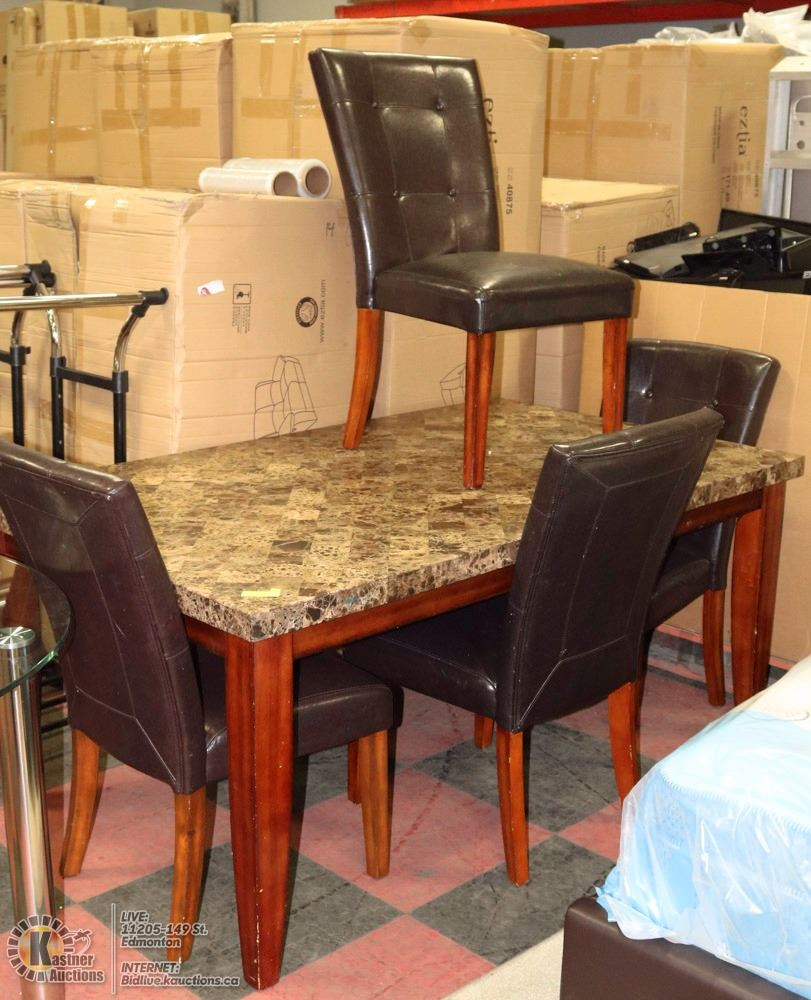 SOLID MARBLE TOP DINING ROOM TABLE WITH 4 CHAIRS Kastner  : 283539011 from bidlive.kauctions.ca size 811 x 1000 jpeg 121kB