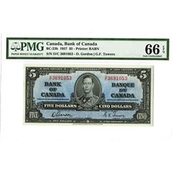 Bank of Canada, 1937 $5 Gordon-Towers Signatures Issued Banknote.
