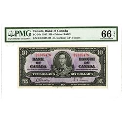 Bank of Canada, 1937 $10 Gordon-Towers Signatures Issued Banknote.