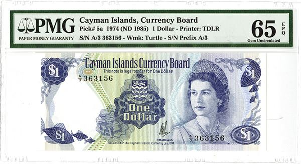 Image 1 Cayman Islands Currency Board 1974 Nd 1985 Issued Banknote