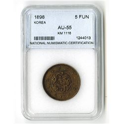 Korea, 1898 5 FUN, KM-1116, NNC graded AU-55