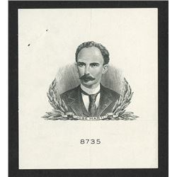 Jose Marti Proof Vignette Essay By Security BNC for Proposed Unissued Banknote.