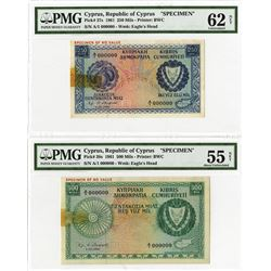 Central Bank of Cyprus, 1961 Specimen Pair.