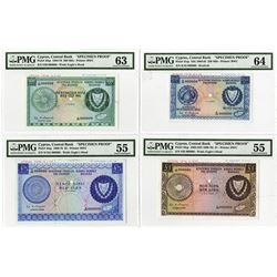 Central Bank of Cyprus, 1974 Unique Approval Specimen set of 4 Notes.