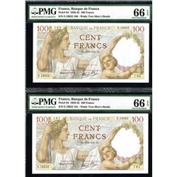 Banque de France, 1939-42 Issue Sequential Banknote Pair.