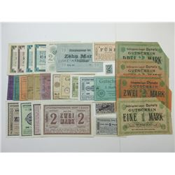 Germany WWI Notgeld and POW Notgeld Assortment.