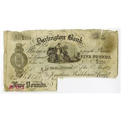 Darlington Bank, 1887 Issued Banknote.