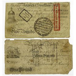 Early English Banknote Pair, ca. 1818-22.