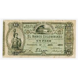 Banco Colombiano, 1900, Issued Note
