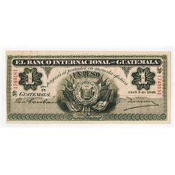 Banco Internacional de Guatemala, 1920, Issued Note.