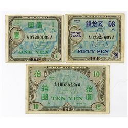 "Allied Military Currency - WW II ND (1946) ""Underprint A"" Banknote Trio."