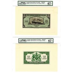 Royal Bank of Canada, Trinidad Issue 1938 Pair of Proof Notes
