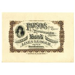 Parsons Paper Co., ca.1880-90's Banknote Advertising Sheet