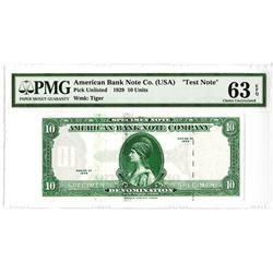 """American Bank Note Co.1929 (ca.1960-80's) Sample """"Test Note"""" with """"Tiger"""" Watermark."""