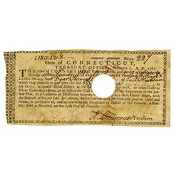 State of Connecticut, Treasury office 1781 Note for Loan, CT-20,  First Document mentioning United S