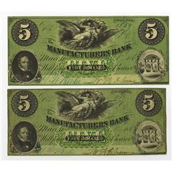 Manufacturers Bank, 1862 Obsolete Banknote Pair.