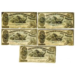 State of Louisiana, 1864 Obsolete Note Group.