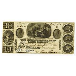 Chesapeake & Ohio Canal Co., 1840 Issued Obsolete Banknote.