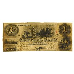 Central Bank, 1855 Issued Obsolete Banknote.