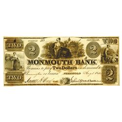 Freehold, NJ. Monmouth Bank 1842 $2 Serial #1 Obsolete Banknote.