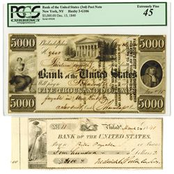 Bank of the United States, 1840, Issued Post Note & Check