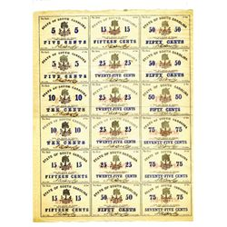 Bank of the State of South Carolina, 1863 Uncut Obsolete Scrip Note Sheet.