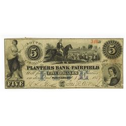 Planters Bank of Fairfield, 1857 Obsolete Banknote.