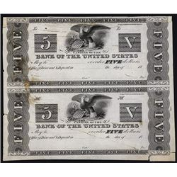 Bank of the United States (2nd), 1817-34 Issue Proof Pair Unlisted.