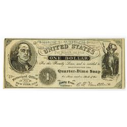 Van Allen's Quarter Dime Soap, 1868, $1 Family Lease Note